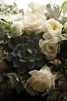 succulent herb garden rose centerpiece close by honey and poppies, via Flickr