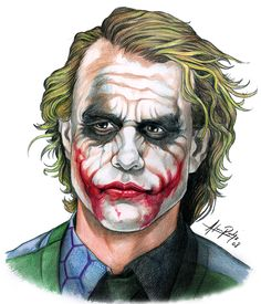 The Joker is a highly intelligent psychopath with a warped, sadistic sense of humor. Joker commits crimes with comedic weapons, that he pulls out of nowhere. Joker Heath, Le Joker Batman, Joker Y Harley Quinn, Gotham Batman, Batman Art, Batman Robin, Joker Sketch, Joker Drawings, Marvel Drawings