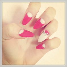 Pink and white stiletto nails nails pink nail white pretty nails nail art nail ideas nail designs stiletto nails