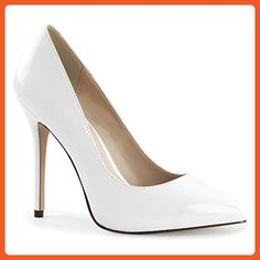 468738a19084 Womens White Pumps Shoes Pointed Toe Pumps Classic Stilettos 5 Inch Heels  Size  14 -