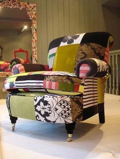 British designer from Squint Limited has adapted the patchwork technique for her funky furniture line. Patchwork is most often associated . Funky Furniture, Painted Furniture, Home Furniture, Furniture Design, Furniture Ideas, Patchwork Sofa, Chair Upholstery, Upholstered Furniture, Upholstery Nails
