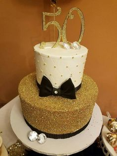 Gold Birthday 50th Party Cakes Decorations Yummy