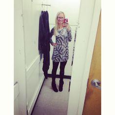 BCBG long thrifted shirt + leggings + black blowfish booties // winter fashion // Instagram @ keepinitthrifty