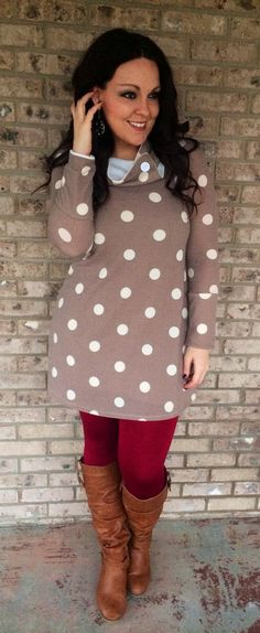 Large Polka Dot Cowl Neck Tunic! Get it now at reallyroxie.com!