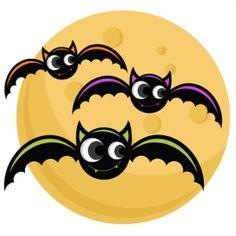 Bats With Moon: Miss Kate Cuttables-- SVG cutting files bat svg cut file halloween cute files for cricut cute cut files free svgs