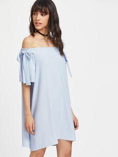 Bow Tie Bell Sleeve Flowy Bardot Dress
