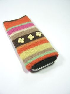 Mobile phone sleeve Eco friendly MP3 cozy  Small camera protection Upcycled wool sweater. $8.00 via Etsy.