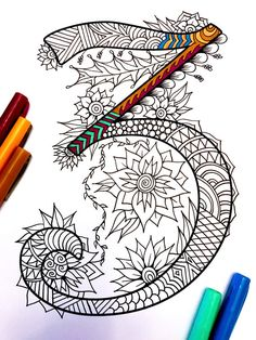 Harrington Font – Printable Zentangle Alphabet & Number Coloring Pages Doodle Designs, Doodle Patterns, Zentangle Patterns, Doodle Drawings, Doodle Art, Adult Coloring Pages, Coloring Books, Sharpie Art, Doodles Zentangles