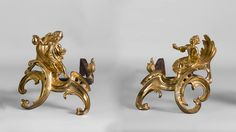 """""""Two children having coffee"""", Pair of gilt bronze andirons after a model by Jacques Caffieri (Reference - Available at Gallery Marc Maison Italian Sculptors, Architectural Antiques, Second Child, French Antiques, Making Out, 19th Century, Bronze, Fire, Paris"""
