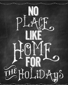 no place like home for the holidays free chalkboard printable
