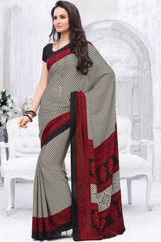 Lovely Cream Color Printed Saree