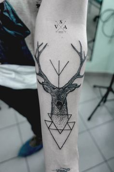 Black and white, deer, dotwork, geometric, forearm tattoo on TattooChief.com
