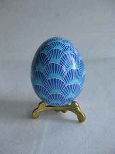 Easter Egg in  Turquoise and Blue  hues, Ukrainian Pysanka egg