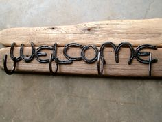 WELCOME horseshoe sign with Hat or coat rack, home,mud room,workshop, barn, shed, MADE to ORDER. $225.00, via Etsy.