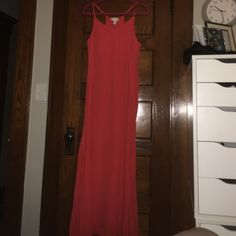 Orange sundress never worn size 1x Never worn. Great condition orange maxi. 60 inches long with approx 20 inch slits on either side. 100% rayon. Dresses Maxi
