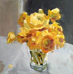 Yellow Flowers on Grey by Laura Lacambra Shubert