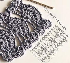 Beautiful Crochet with graph pattern Crochet Motifs, Crochet Diagram, Crochet Stitches Patterns, Crochet Chart, Lace Patterns, Crochet Designs, Knitting Patterns, Tutorial Crochet, Confection Au Crochet