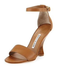 S0AP0 Manolo Blahnik Lauratowe Ankle-Wrap Wedge Sandal