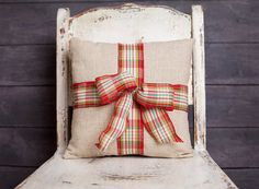 Tied With A Bow Pillow Cover Plaid Ribbon Bow by larksongcreations