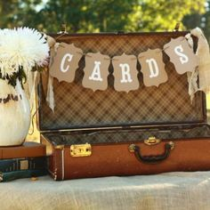 Vintage suitcase for 50th birthday cards.  See more card ideas and 50th birthday party ideas at www.one-stop-party-ideas.com