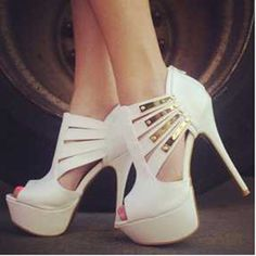56.00$  Watch here - http://ali2uq.worldwells.pw/go.php?t=32786349050 - SHOFOO shoes,New fashion free shipping, white leather, gold trim, 14.5 cm high heel sandals. SIZE:34-45
