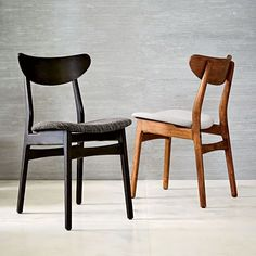 Classic Cafe Dining Chairs - Set of 2, Walnut + Feather Gray