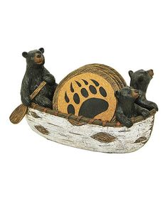 Another great find on #zulily! Rustic Bear & Canoe Coaster Set #zulilyfinds