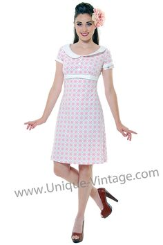 Heartbreaker Dolly Pink & White Argyle Collared Dress