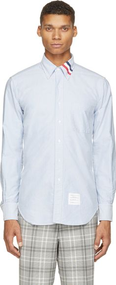 Thom Browne  Blue Oxford Striped-Collar Shirt