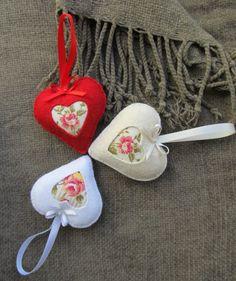 Romantikus filcszívek, Dekoráció, Otthon, lakberendezés, Dísz, Néha nincs szükség szavakra.. csupaédes, csupaszív meglepetés szerettednek.  ...