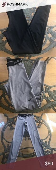 Women's Nike Pro Leggings Both are in great condition!! Only the grey pants have the mesh detail in the back of the leg . nike pro Pants Leggings