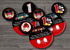 DIY 4x6 or 5x7 Mickey Mouse Invitation, Mickey Clubhouse Invitation - Mickey Mouse Birthday Party DIGITAL FILE on Etsy, $10.00 Austin 3rd birthday!