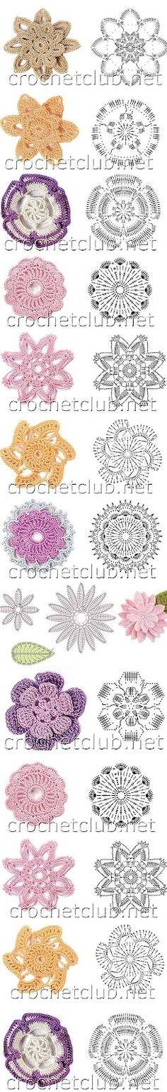 Receitas de Crochet: Flores de crochet *needs translation and the image is small on my phone so I need to see how it is on my pc. @ Af 3/1/13