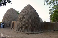 These are clay catenary domes, called obos, of the Musgum people in the Cameroon. They provide efficient cooling in the baking heat with a round ventilation hole at the top and a small entrance with no windows. The high dome collects the hot air moving it away from the living space. More at www.naturalhomes.org/catenary.htm