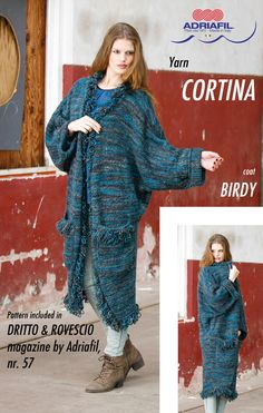 """Birdy"" coat, CORTINA yarn by Adriafil Patterni included in Dritto & Rovescio magazine, nr. 57  http://www.adriafil.com/uk/scheda-rivista.html?id_rivista=57  #adriafil #coat #cappotto #maglia #veste #tricot #tricoter #knitwear #hiver #winter #shades #shading #nuances #sfumature #selfstriping #variegated #cortina #yarn #filato #new #cool #moda #fashion #trends #trend #knit #iknitting #tricot #tricoter #madeinitaly #handmade #doityourself #diy #pattern"