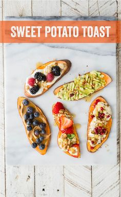 Sweet Potato Honey Toast   Go gluten-free and enjoy our raw honey, as well, with this simple recipe for toasted sweet potato slices. Honey + Nut Butter + Blueberries   Honey + Mashed Avocado + Red Pepper Flakes   Honey + Brie + Pistachios  Honey + Yogurt + Berries  Honey + Feta or Bleu Cheese + Strawberries + Walnuts recipe @naturenates.com #honey #toast #glutenfree #berries #cheese #breakfast #snack Brunch Recipes, Breakfast Recipes, Snack Recipes, Snacks, Sweet Potato Slices, Sweet Potato Toast, Walnut Recipes, Honey Recipes, Cooking With Honey
