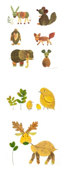 Animals made out of leaves. They'd make amazing illustrations for a book.