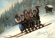 DigitaltMuseum - Julekort. Jule- og nyttårshilsen. Vintermotiv. Tre jenter og tre nisser på ett par ski. Illustrert av Wilhelm Larsen. Datert Kristiansand 24.12.1892.