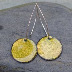 Enamel Earrings Large Copper Disc Enameled Jewelry by Venbead, $24.00