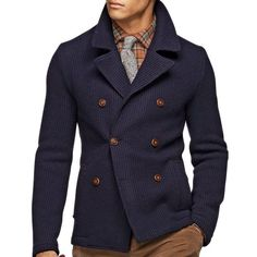Navy Double Breasted Sweater Jacket with Leather Buttons. Men's Fall Winter Fashion.