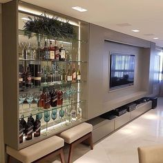 Tv Wall Design, Tv Unit Design, Painel Tv Sala Grande, Wall Bar Cabinet, Bar Sala, Home Interior Design, Interior Decorating, Apartment Bar, Tv Stand Designs