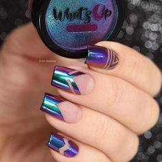 Chrome Powder Nails | Nail art |Nail design | Unhas Holográficas | Nail Polish | Fancy | Chic | Elegante