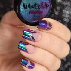 Chrome Powder Nails | Nail art |Nail design | Unhas Holográficas | Nail Polish | Fancy | Chic | Elegante