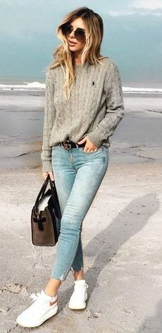 fall fashion trends knit + jeans + bag