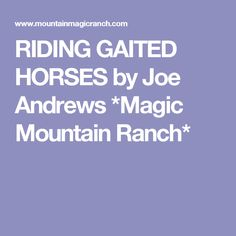 RIDING GAITED HORSES  by Joe Andrews *Magic Mountain Ranch*