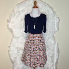 """Emmelee Pink/Mint Green/Navy Blue/Yellow Skirt. Pretty skirt pink, mint green, yellow & navy blue prints with pockets from Francesca. Waist: 32"""" & Lenght: 19"""". Hidden zipper. NWOT Francesca's Collections Skirts Mini"""