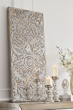 Add an elegant sparkle to your home with this Mirrored Damask Panel from Pier 1. It would be a fabulous piece of wall art or, displayed horizontally, an inventive substitute for a headboard.