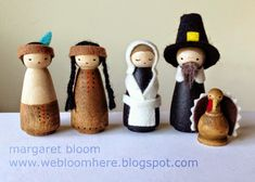 Peg dolls are painted and dressed in felt for Thanksgiving to make pilgrims, Native American Indians and even turkeys with we bloom here.