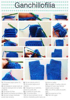 Romantic mittens step by step Gilet Crochet, Crochet Stitches, Knit Crochet, Crochet Toddler, Crochet Baby, Free Crochet, Crochet Designs, Crochet Patterns, Crochet Wrist Warmers