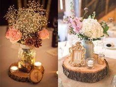 A Rustic Barn Wedding at Rivercrest Farm Wedding reception center piece on a wood slab with gold frame for table number and white hydrangeas, vintage wedding table decor Fall Wedding, Our Wedding, Dream Wedding, Trendy Wedding, Wedding Rustic, Wedding Themes, Elegant Wedding, Wedding Receptions, Shabby Chic Wedding Decor